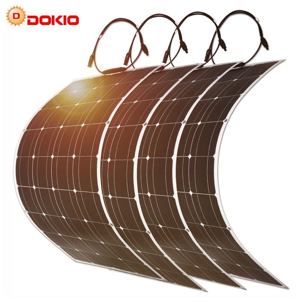 Dokio 100 w Flexível Painel Solar Monocristalino Kit Para Casa & RV & Barco 500 w 1000 w Solar Flexível china painel de Transporte da gota