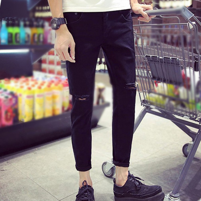 2a3e497457e1 Summer Men s Ankle-length Pencil Pants Fashion Men White Slim Ripped Hole  Pants Male Jeans Trousers Denim Pants with Zipper Type