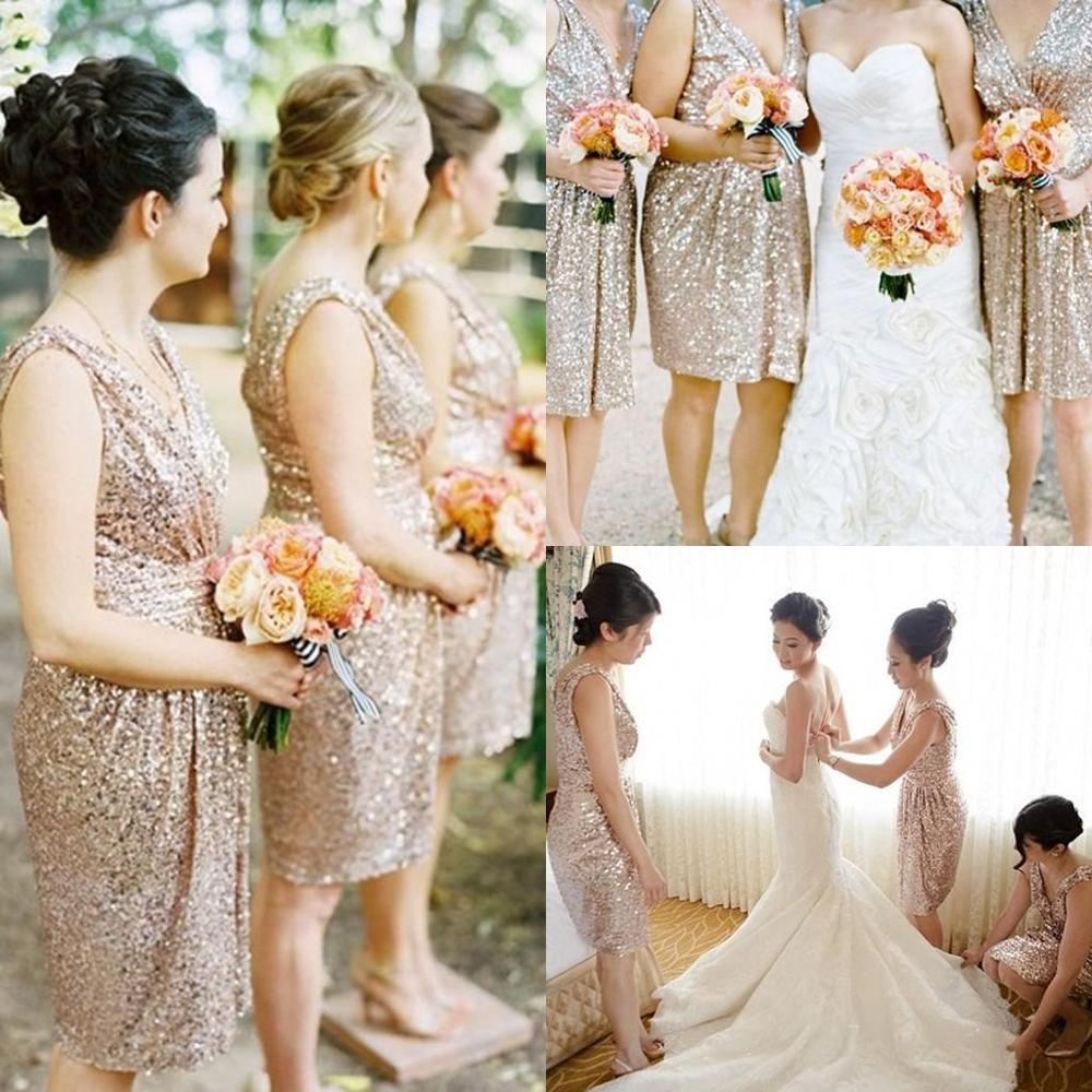 Bling Rose Gold Cheap 2016 Bridesmaid Dresses Short Sleeve Sequins Beaded  Knee Length Beach Short Wedding Party Gowns BE5 0db23c1d245b