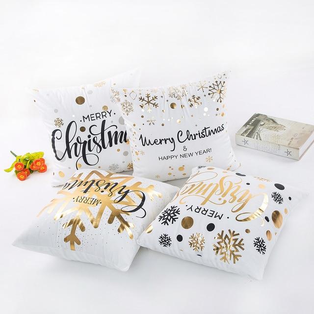 FENGRISE 45x45cm Pillow Case Christmas Decorations For Home Santa Clause Christmas Deer Cotton Linen Cover Cushion Home Decor 5