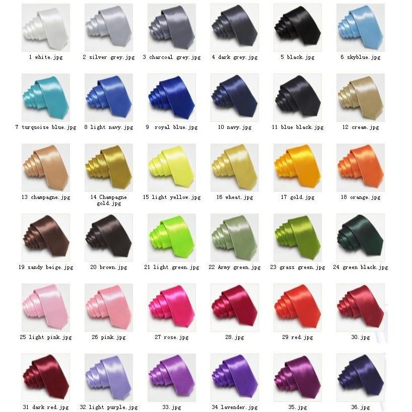HOOYI 2019 Slim Ties Skinny Tie Men's Necktie Solid Color Polyester 36colors
