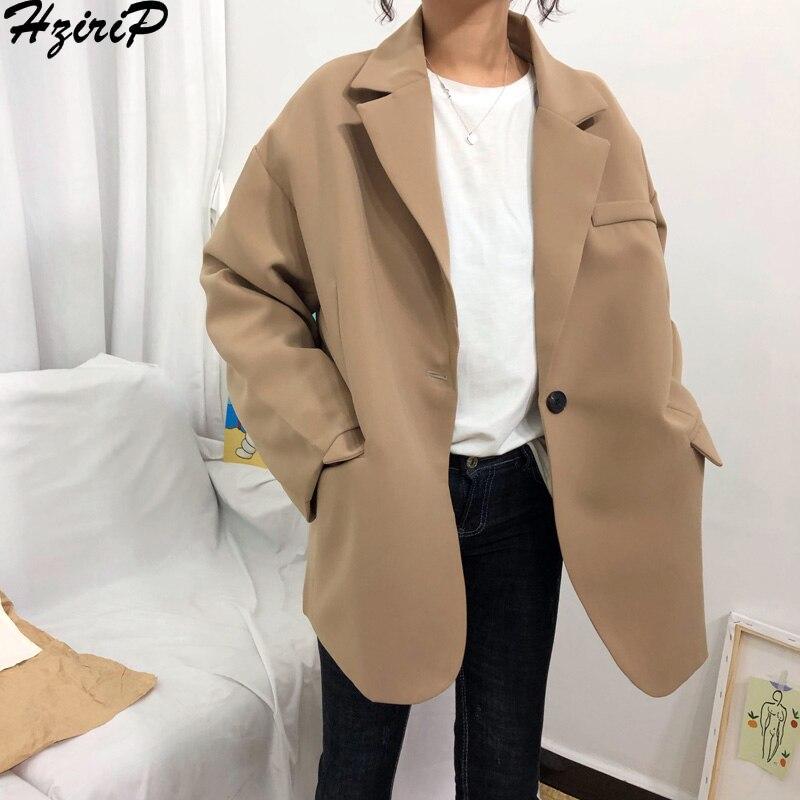Hzirip Korean 2019 Spring Fashion Women Blazer Long Sleeve Casual Loose Preppy Style Single Button Jacket Tops Female Coat