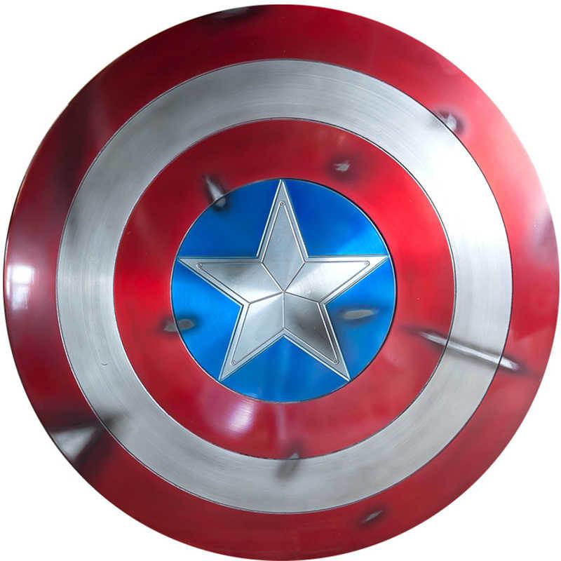 キャプテンアメリカコスプレメタルシールドコスプレギフトハロウィン小道具アルミ合金直径 60cm1: 1 完璧なバージョンスティーブ · ロジャース  グループ上の ノベルティ & 特殊用途 からの 衣装小道具 の中 3