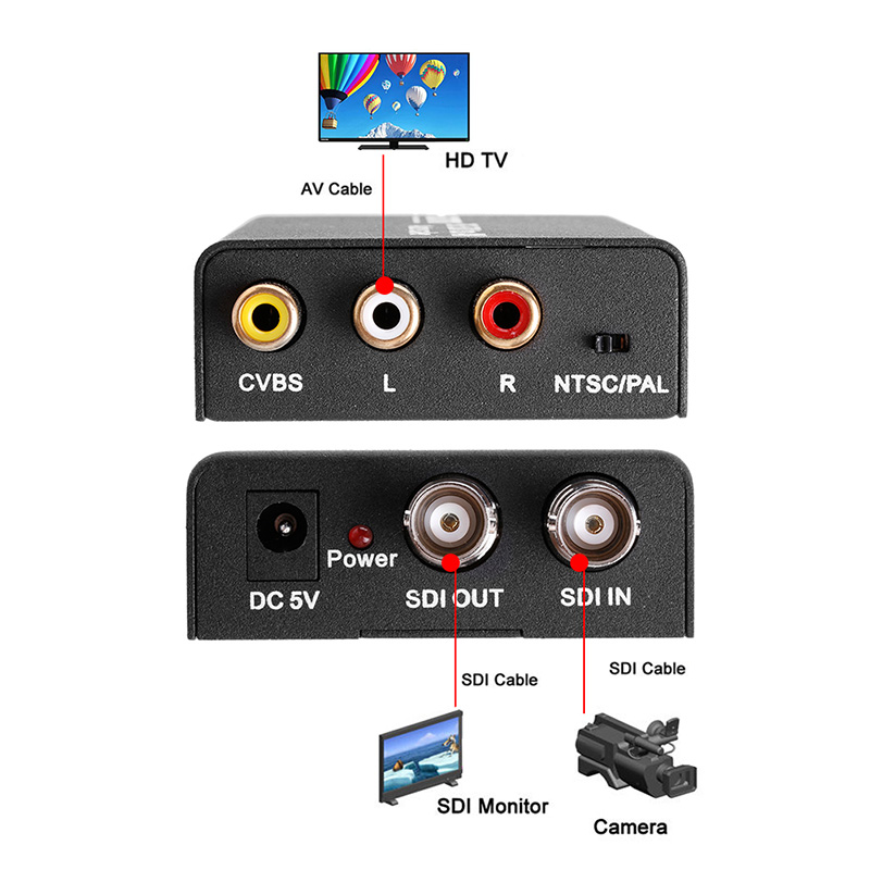 OOTDTY Computer Accessories HD & 3G SDI to Composite RCA Video + L/R Analog Stereo Audio Converter Scaler SD