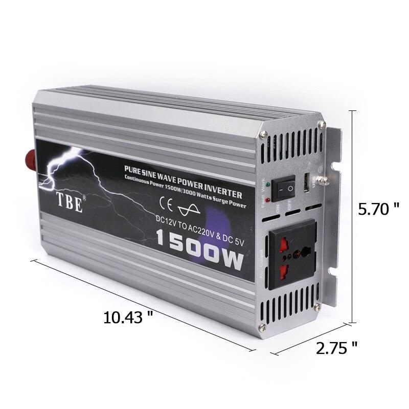 Car Inverter 1500W DC 12V to AC 220V Power Converter with Light Cigarette Lighter Outlet Buzzer Alarm Camper Charger - 2