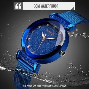 Image 5 - Mode Frauen Quart Uhr Luxus Starry Zifferblatt frauen Uhren Damen Kleid Armbanduhr Wasserdicht Armband Uhr Top Marke SKMEI