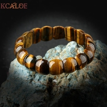 KCALOE Vintage Tiger Eye Stone Beaded Bracelets Bangles For Women Natural Stone Elastic Bracelet Yoga Accessories Bracciali]