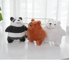 10cm Cartoon We Bare bears Lying Bear Stuffed Grizzly Gray White Bear Panda Plush Toys Pendant for Kawaii Keychain for Kids Gift цена и фото