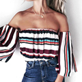 2017 New Fashion Women Chiffon Shirts Striped Slash Neck Three Quarter Flare Sleeve Off the Shoulder Blouse