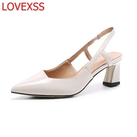 LOVEXSS Fashion Sandals Women With 2018 New Spring And Summer Leather Baotou Word Buckle Shoes Leather