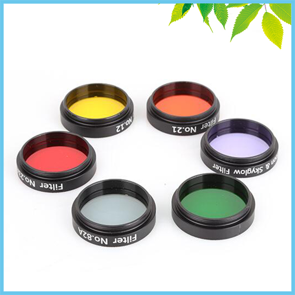 6 Colors Orange Red Yellow Green Blue Moon Optical Filter 1.25 inches 31.7mm for Astronomical Telescope with Aluminum Box