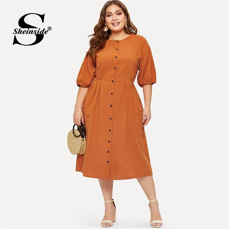 Sheinside плюс размеры оранжевый карман кнопка спереди платье рубашка для женщин бодикон с коротким рукавом летние платья 2019 повседневное одно...
