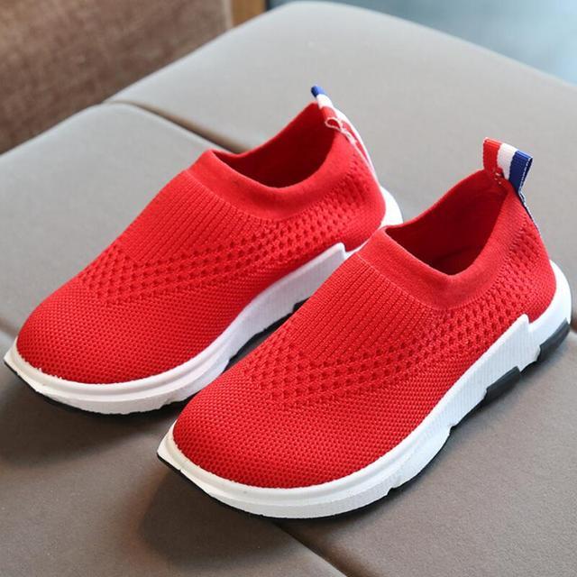 בני בנות קיד סניקרס נעלי ריצה ספורט ילדים סניקרס לבנים בנות תינוק לנשימה אנטי להחליק נעליים שחור אדום אדום