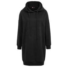 Womens tops winter Thigh Length Long Sleeve Hooded  Cotton Pullover Hoodies casual warm sweatshirt black