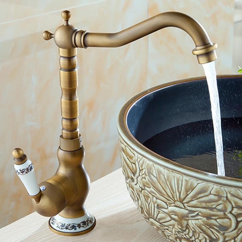Livraison gratuite robinet antique de salle de bains de luxe avec robinet d'évier de bassin en laiton, robinet de mélangeur d'eau antique d'évier de cuisine monté sur pont