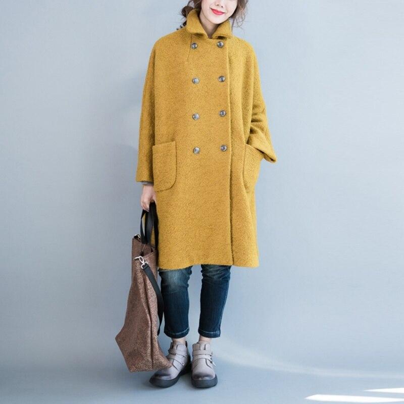 Nieuwe Plus Size Vrouwen 2018 Herfst Winter Wol Blends Jas Jas Dames Lange Overjas Mode Oversized Windjack Bovenkleding X147-in Wol en mengsels van Dames Kleding op  Groep 3