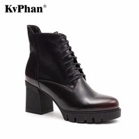 KvPhan Women high heels boots Polishing Genuine Leather Big size 35 41 High quality brand Party Shoe for woman Free shipping