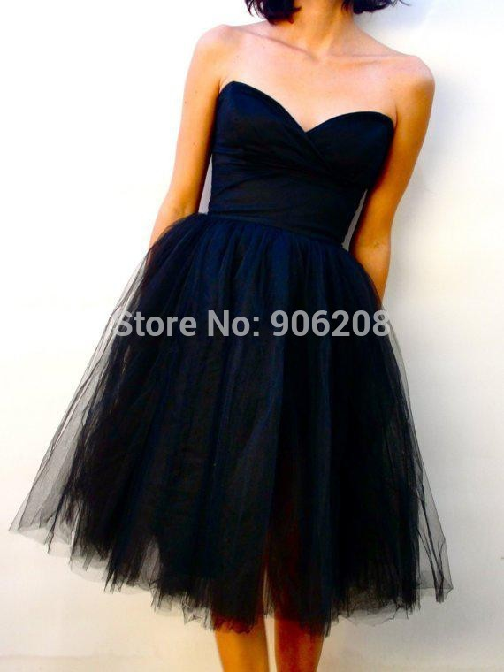 Sexy Black Short Homecoming Dresses 2015 Sweetheart Neck Tulle Custom Made Open Back Mother Of Bride Party Gown Vestidos