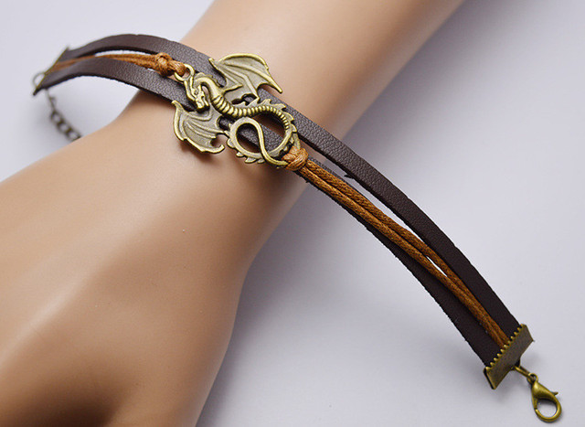 """""""Song Of Ice And Fire"""" Leather Dragon Bracelets  2"""