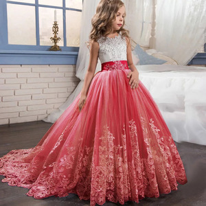 Image 1 - Elegant Kids Girls Princess Dress Flower Girls Wedding Dresses For Girls Birthday Children Evening Party Dress Vestido 4 14 Year
