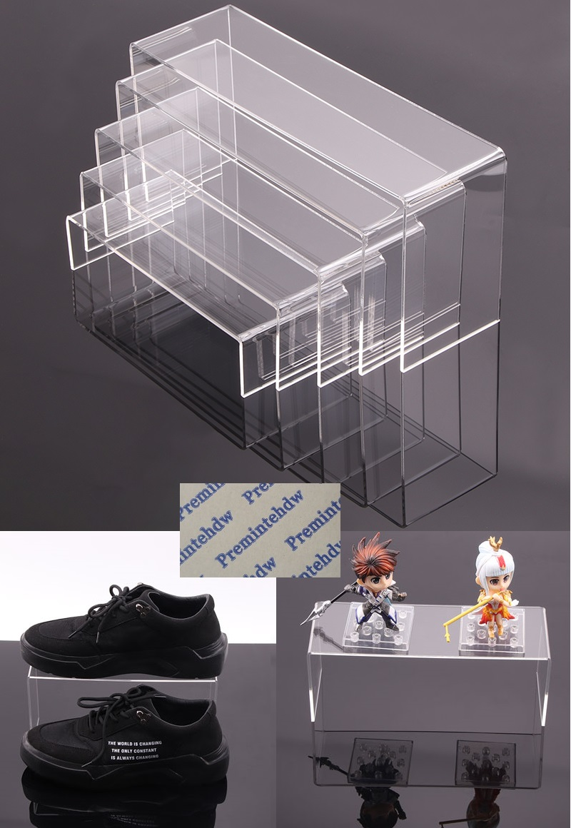 2Pcs/Lot Clear Acrylic U Stand for Display Showcase Shelf Figures Buffets Cupcakes and Jewelry Shoe Cosmetic Display Stands double roller catches roller catch door roller latch - title=