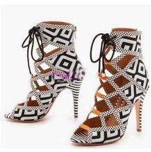 Print Plaid Ankle Strap Cross Tied Sandals Peep Toe High Thin Round Heel Cool Party Female Shoes Accept Customized High Quality peep toe high thin heel dark khaki women sandals ankle cross tied shoes mature style well matched clothes shoes for summer