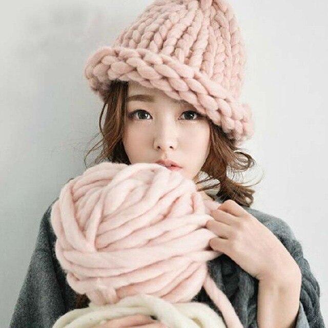 Женщины зима теплая шапка ручной трикотажные грубых линий кабель шляпы вязаная шапка конфеты цвет шапочка-крючком шапки женщин аксессуары