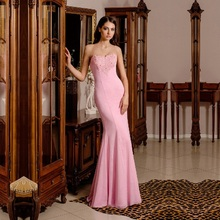Cheap Elegant Lace Pink Mermaid Long Evening Dresses 2016 Off the Shoulder Prom Party Dress Robe De Soiree Longue