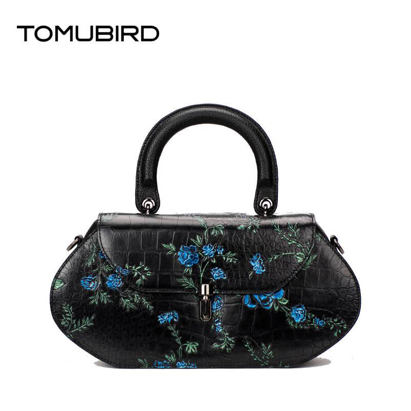 Tomubird National wind leather painted ladies handbag First layer of leather retro messenger font b bag