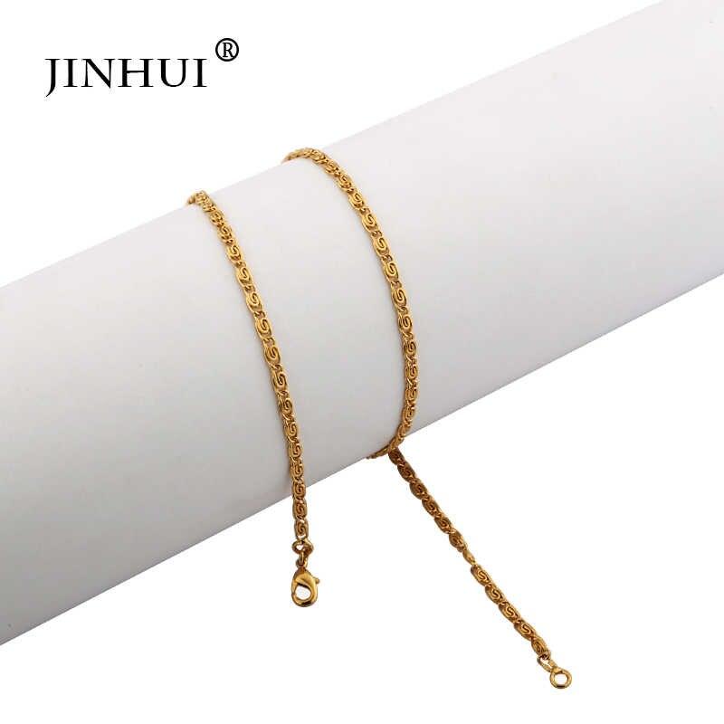 Jin Hui Africano Oriente médio mulheres Na Moda Colares de Ouro Comprimento 45 centímetros Amantes do presente de Aniversário de moda Jóias Colares presente