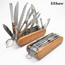Szwajcarski nóż ze stali nierdzewnej Outdoor Camping Survival Army składany nóż przenośny Camping multi-tool kieszonkowe noże myśliwskie tanie tanio EEBAW Maszyny do obróbki drewna WOOD STAINLESS STEEL 01EBKN002 Wielu nóż