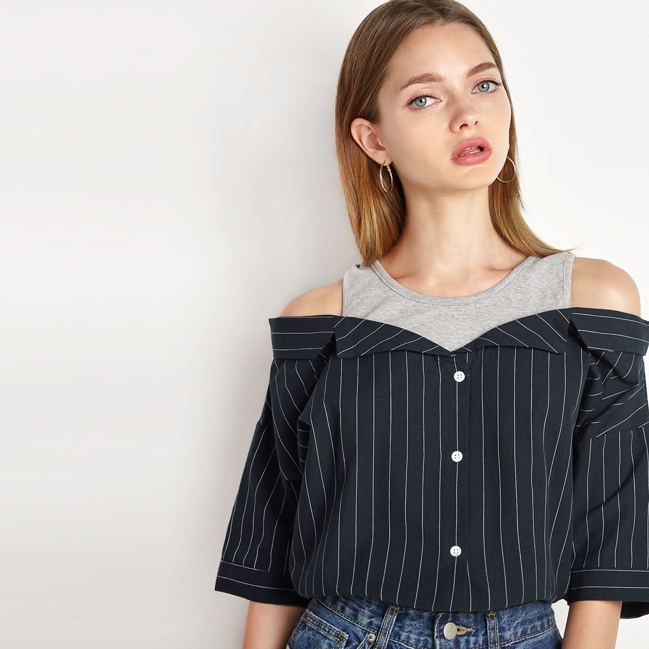 a7fa6cb729d473 IRISIE Apparel Stripe Off Shoulder Women Blouse Shirt Sweet Single Breasted  Slim Chic Blouse Preppy Casual Sexy Female Shirt-in Blouses & Shirts from  ...