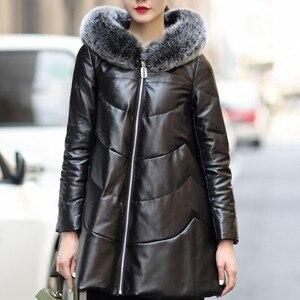 Image 2 - معطف فضفاض من جلد الغنم للنساء لعام 2020 معطف شتوي للنساء جاكيت من الجلد الطبيعي معاطف للنساء مقاس كبير M 4XL
