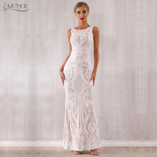 Adyce 2019 New Arrival Luxury Sequined Maxi Celebrity Evening Runway Party Dress Vestidos Sexy Sleeveless White Tank Club Dress 4