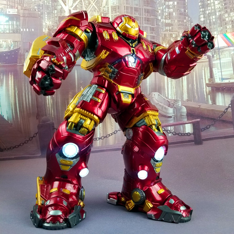 Avengers Iron Man Hulk Buster Armor Luxury Version Anti Hulk LED Light PVC Action Figure Collection Model For Kids Toy 28cm