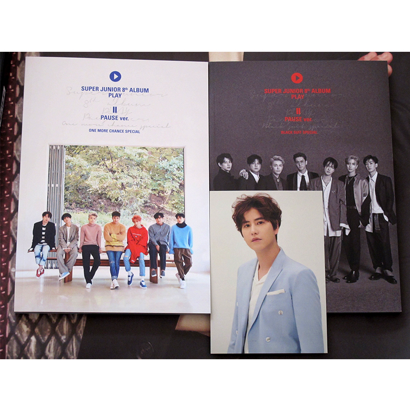 signed S.J Super Junior autographed 8th following album play PAUSE CD+photobook+signed poster 032018