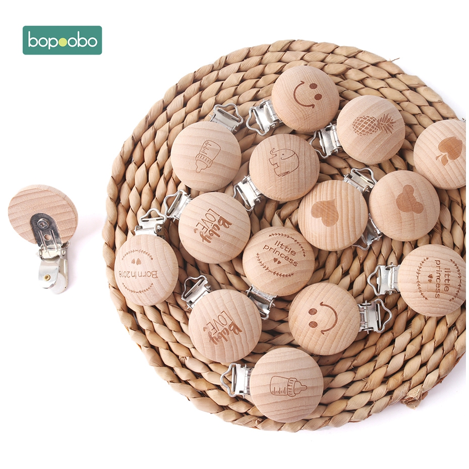 Bopoobo 1pc Wooden Pacifier Clips Soother Clip Nursing Accessories Chewable Teething Diy Dummy Clip Chains Baby Teether Freeship