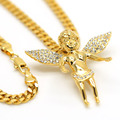 Inlay zircon ANGEL BABY pendant 70cm Long chain High Quality Fashion Hiphop Gold plated chain statement necklace Men jewelry