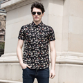 Alta Qualidade Dos Homens de Moda Verão Camisas Florais Flores Impresso Vestido de Algodão de Manga Curta Camisas