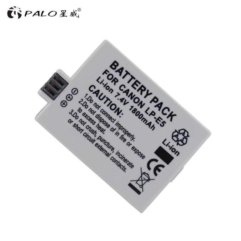 PALO 7,4 V 1800 мА/ч, LP-E5 LP E5 LPE5 цифровой Камера Li-Ion Батарея для цифровой однообъективной зеркальной камеры Canon Eos 450D 500D 1000D поцелуй X3 поцелуй F Rebel Xsi