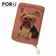 FORUDESIGNS Women Yorkshire Terrier Printing Card&ID Holders Ladies Cluth PU Leather Passport Bag Feminine Business Card Cases