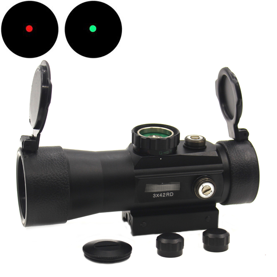 Tactical 3x42 Riflescope Red&Green Dot Sight Hunting Mount for Airsoft Holographic Luneta Para Rifle Fit picatinny rail <font><b>11mm</b></font>