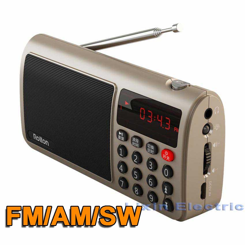 Rolton T50 Radio Speaker Portable World Band FM / AM / SW Radio Mp3 Music Player TF Card WAV Bermain Speaker Dan Lampu Suluh untuk PC iPod