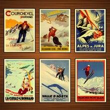 Póster de viaje de Deportes de esquí Vintage chamonix mont blanc pinturas clásicas en lienzo pósteres de pared pegatinas decoración del hogar regalo