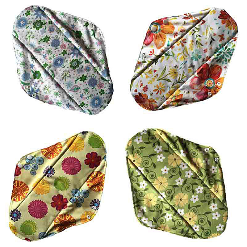 Reusable Waterproof Mummy Pads For Women Flower Printed Bamboo Charcoal Fleece Inner Lady Cloth Menstrual Pads