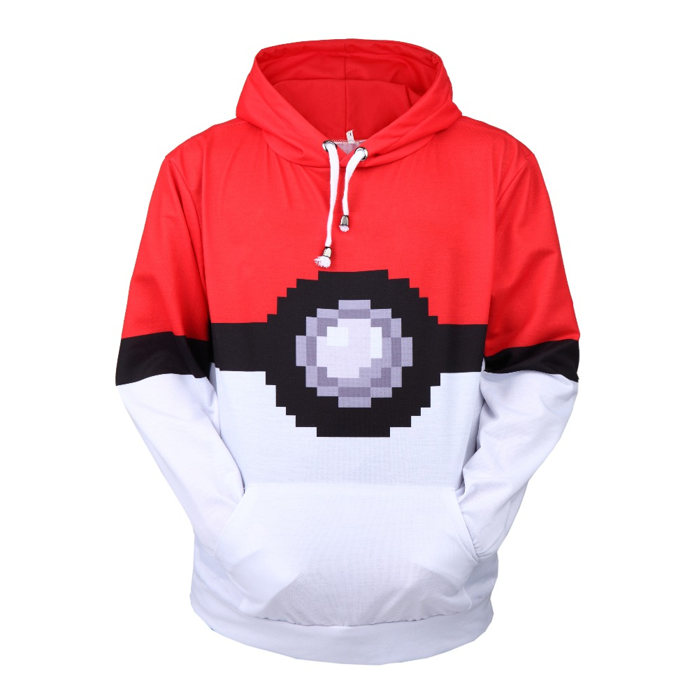 Men Pocket Monsters Pokemon Go Printed Hoodies 3D Hoodies Sweatshirts Boy Jackets Pullover Fashion Tracksuits Streetwear