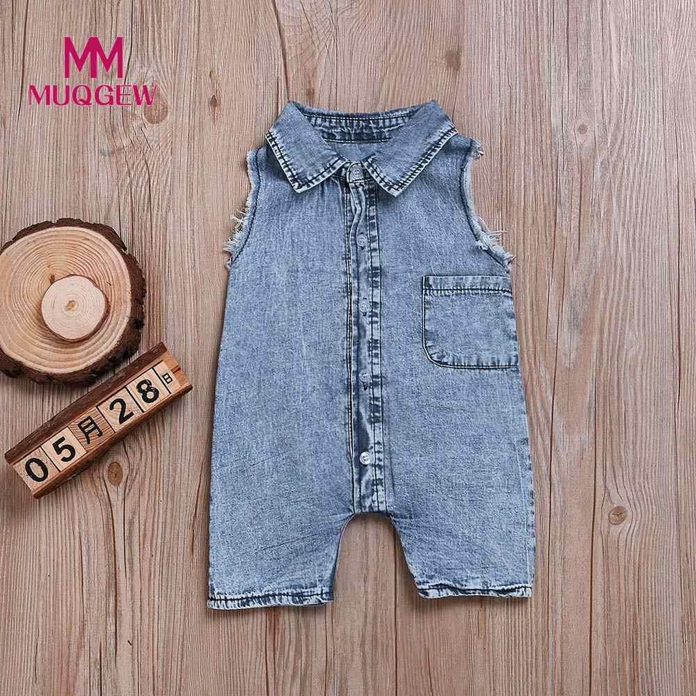 MUQGEW джинсовый комбинезон для новорожденных для маленьких мальчиков девочек комбинезон без рукавов комбинезон Дети Повседневное повседневная одежда/PY