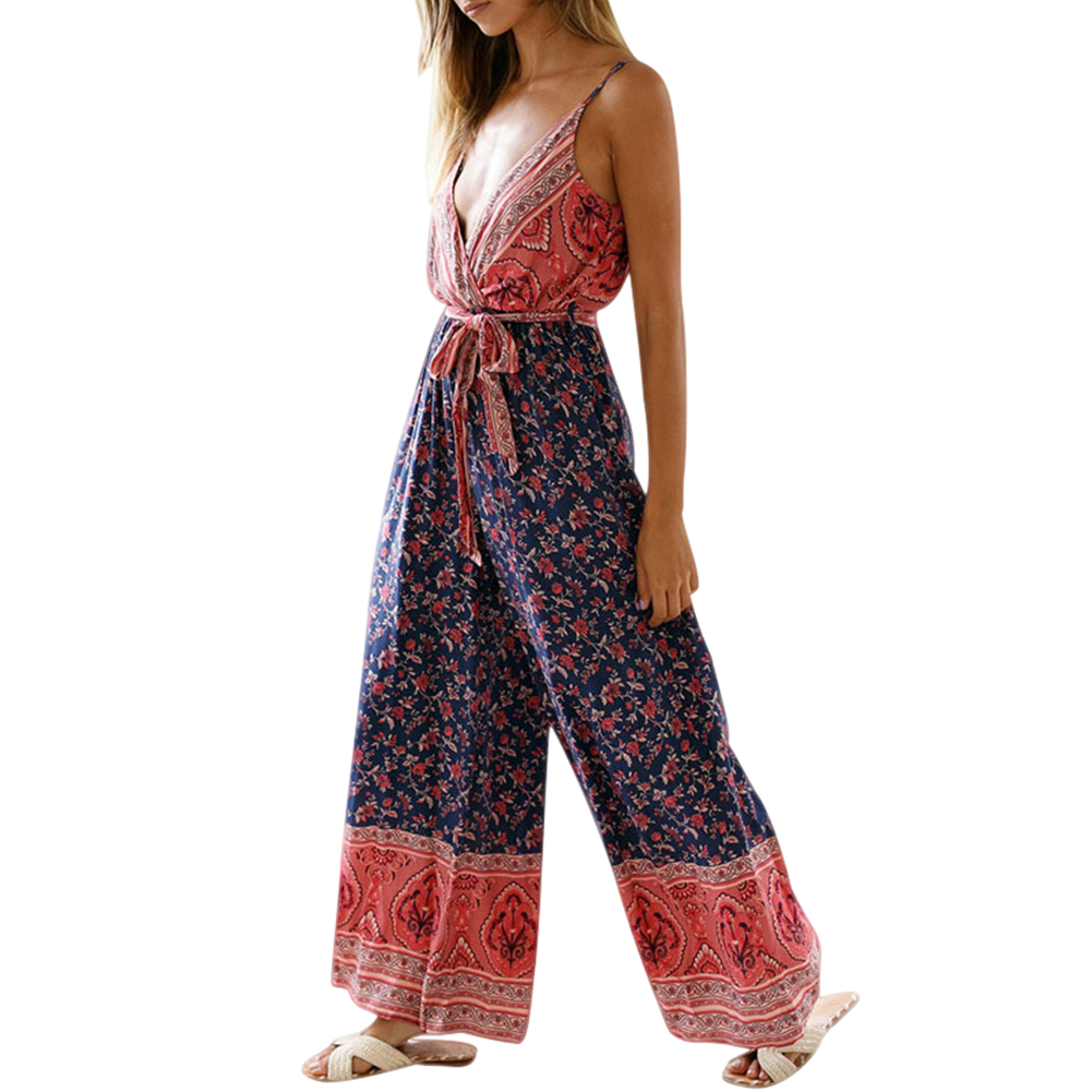 Women Print   Jumpsuits   Deep V Neck Strappy Sleeveless Backless   Jumpsuit   for Summer XRQ88