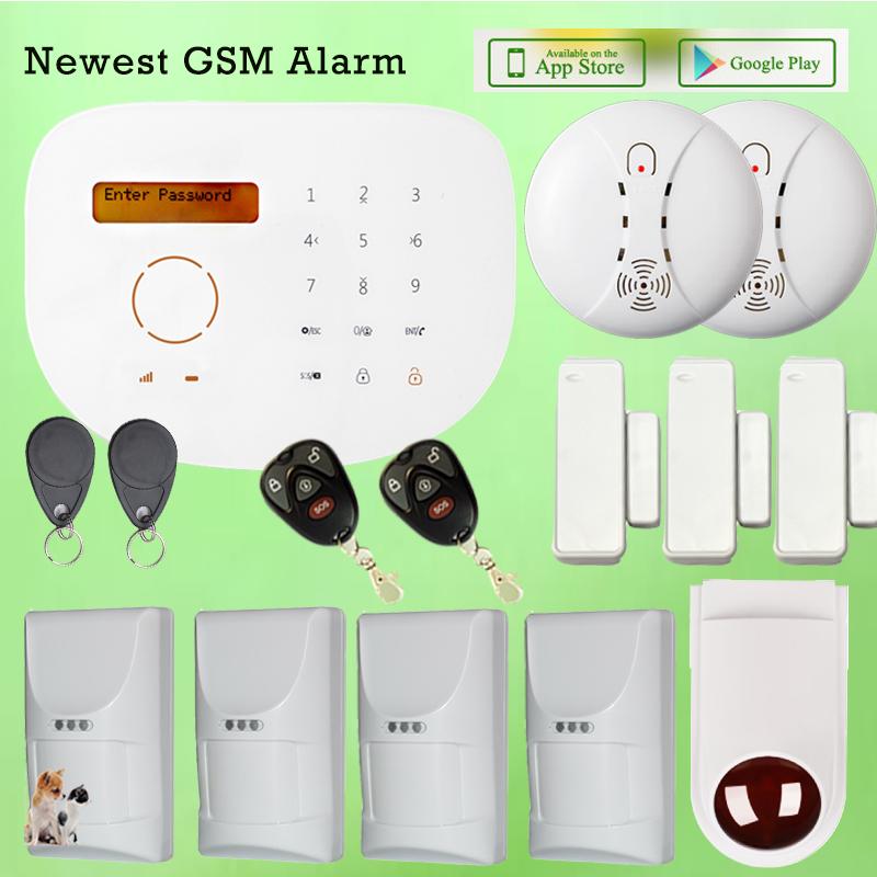 Android Iphone Controlled Wired Wireless GSM Home Office Security Alarm System w Pet Friendly Motion Detector and Exterior Siren fuers wifi gsm sms home alarm system security alarm new wireless pet friendly pir motion detector waterproof strobe siren