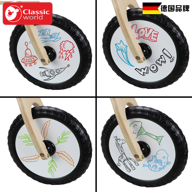 Classic World wooden rade on bike children balance ride on bicycle ride walker can take a step